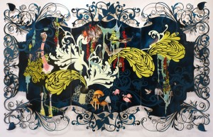Beauty and the Beasties / 2008 / oil, acrylic, and glitter on cut-edge panel / 79 x 126 inches / triptych (from resablatman.com)