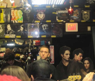 Jamie Smith and Oliver Sim of The xx at Newbury Comics, with their newest members... oh wait, never mind.