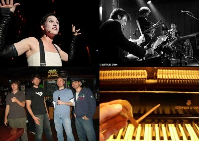 Amanda Palmer in Cabaret (photo by Marcus Stern), Otis Grove (photo by Arthur Shim), The Action Verbs, and wildfowl.