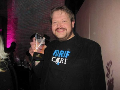 The face of a happy man. Ryan Spaulding poses with his 'Best Music Blog' award for Ryan's Smashing Life.