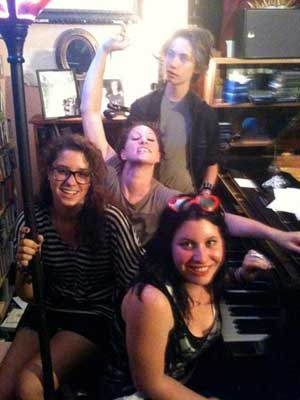 Tristan, Amanda Palmer & Tristan's friends Alejandra and Nicola @ Amanda's piano.