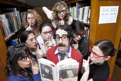 Professor Epstein and his librarians (photo by Kelly Davidson)