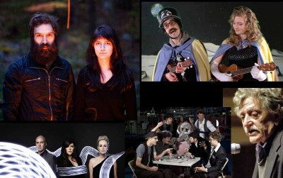 (clockwise from top left: Brown Bird, Space Balloons (a.k.a. Michael J. Epstein and Sophia Cacciola), Kurt Vonnegut Jr., Somerville Symphony Orkestar, and The Human League