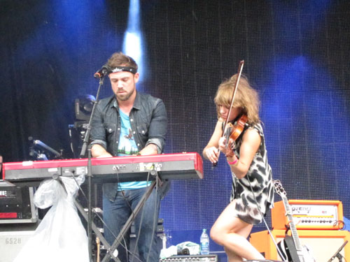 Mikel Jollett and Anna Bulbrook of The Airborne Toxic Event at Osheaga in Montreal