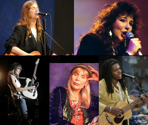 Tough, strong, talented and beautiful -- some of my musical heroines. Clockwise from upper left: Patti Smith (Doug Anderson), Kate Bush (Rex Features), Tracy Chapman, Joni Mitchell and Chrissie Hynde.