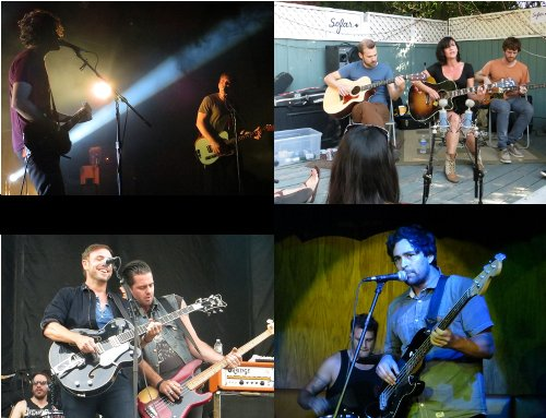 (clockwise from upper left): A blessing to see all my favorites this year - The Henry Clay People, The Happy Hollows, Malcolm Sosa's 123Death and The Airborne Toxic Event